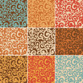 Abstract seamless backgrounds with curls set of in retro colors Royalty Free Stock Photo