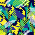 Abstract seamless chaotic pattern with urban geometric elements. Grunge neon texture background. Wallpaper for boys and girls
