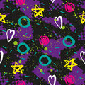 Abstract seamless chaotic pattern with urban geometric elements star. Grunge neon texture background. Wallpaper for boys and girls