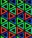 Abstract seamless dark pattern tile from multicolored red blue green triangles on a black background. Backdrop ornamental like