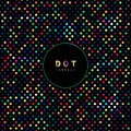 Abstract seamless dots pattern rainbow color on black background