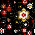 Abstract  seamless floral  black pattern Royalty Free Stock Photo