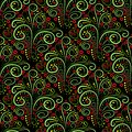 Abstract seamless floral curl pattern vector illustration black red green and yellow colors flower romantic stylish texture Stock Images