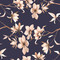 Abstract seamless floral pattern with of red roses and pink and blue freesia on black background. Royalty Free Stock Photo