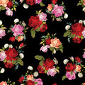 Abstract seamless floral pattern with white, pink, red and orang