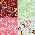 Abstract seamless floral patterns set Stock Image