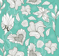 Abstract seamless flowers and hearts pattern Stock Photography