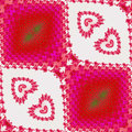 Abstract seamless fractal pattern with hearts and scalloped texture