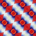 Abstract seamless fractal pattern with rounded squares and rhombuses