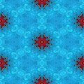 Abstract seamless frozen blue glass texture or background with red snowflakes for Christmas decor