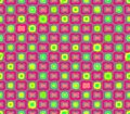Abstract seamless gray background pink flowers and yellow squares Royalty Free Stock Photo