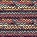 Abstract seamless hand drawn pattern. Modern grunge texture. Colorful pen-brush painted background. Texture with zigzag Royalty Free Stock Photo