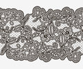 Abstract seamless lace ribbon with flowers. Monochrome element for invitations, greeting cards and frames. Royalty Free Stock Photo