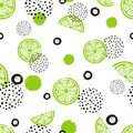 Abstract seamless lime pattern in green and black colors
