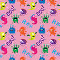 Abstract seamless ornamental pattern with different monsters