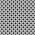 Abstract seamless pattern from alternate circles, intersected by grid of lines. Simple black white geometric texture