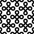 Abstract seamless pattern background. Black bowen knots, or loop square, design elements in diagonal arrangement