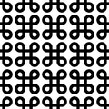 Abstract seamless pattern background. Black bowen knots, or loop square, design elements in linear arrangement isolated