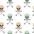 Abstract seamless pattern background illustration with human skulls and arrows Royalty Free Stock Photo