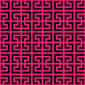 Abstract seamless pattern background. Maze of black geometric design elements isolated on pink background. Vector
