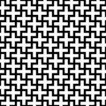 Abstract seamless pattern background. Mosaic of white geometric crosses with black outline. Vector illustration