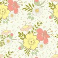 Abstract seamless pattern with beautiful hand drawn floral background vector illustration Royalty Free Stock Photo