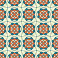 Abstract seamless pattern blue beige kaleidoscopic foral retro Royalty Free Stock Images
