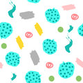 Abstract seamless pattern with brush strokes, scribbles, round spots and dots. Sketch, ink, watercolor.