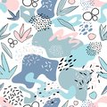 Abstract seamless pattern with chaotic painted elements. Vector Hand drawn texture with different lines, dots and shapes.