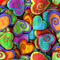 Abstract seamless pattern with colorful hearts and shadow