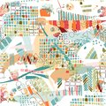 Abstract seamless pattern with colorful stains and shapes. Fashion design