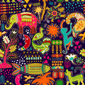 Abstract seamless pattern. Colorful tropic background. Hand drawn backdrop with decorative animals and geometric elements