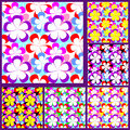 Abstract seamless pattern with flowers set of six variants is presented Stock Photography