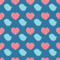 Abstract seamless pattern geometric heart and bird print Stock Photo