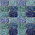 Abstract seamless pattern of green and blue rounded blocks Royalty Free Stock Photo