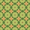 Abstract seamless pattern green yellow floral kaleidoscopic Royalty Free Stock Images