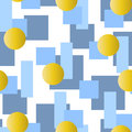 Abstract seamless pattern with grey and blue rectangles and golden circles on white background