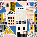 Abstract seamless pattern with houses with hand drawn textures and shapes. Perfect for fabric.textile,wallpaper. Vector Illustrati
