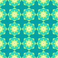 Abstract seamless pattern light green blue kaleidoscopic star Royalty Free Stock Images