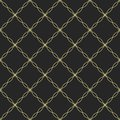 Abstract seamless pattern. Repeating geometric ornament of curved lines and smooth squares.