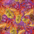 Abstract seamless pattern of mosaic maple leaves autumn Stock Images