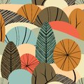 Abstract seamless pattern with plants, leaves, forest theme. Hand draw texture, vector template