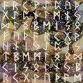 Abstract seamless pattern. Runes, grunge texture on geometric