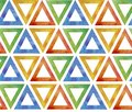 Abstract seamless pattern tile from multicolored red blue green yellow triangles on a white background. Background ornamental like