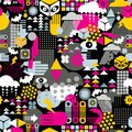 Abstract seamless pattern vector texture with eyes snow and arms Stock Photo