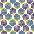 Abstract seamless pattern with watercolor hexagons in yellow, purple and blue colors