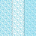 Abstract seamless patterns. Blue and white backgrounds for textile and fabrics
