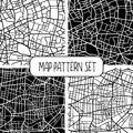Set of 4 seamless city map patterns Royalty Free Stock Photo