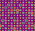 Abstract seamless purple background with green and gray colors with a stroke and yellow and pink squares Royalty Free Stock Photo