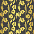 Abstract seamless retro pattern with silhouettes of tulips . Floral design Royalty Free Stock Photo